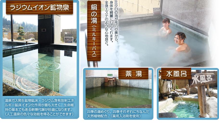 ラジウムイオン鉱物泉・絹の湯・薬湯・水風呂
